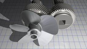 Metallic propeller with gears. A metallic propeller and the gears of the motor shafts Stock Image