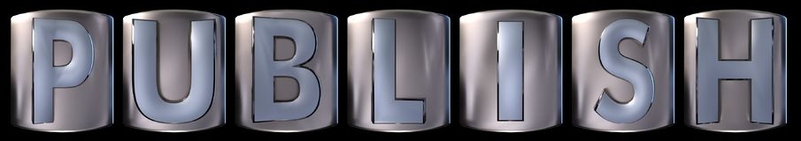 Metallic publish word. Metallic blue silver publish word realistic 3d rendered on black background Stock Image