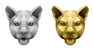 Metallic puma head Stock Images