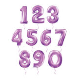 Metallic Purple Letter Balloons 123. Metallic Purple Letter Balloons, 123 golden numeral alphabeth. Purple Number Balloons, 1, Alphabet Letter Balloons, 2 vector illustration