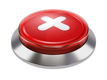 Metallic push button with close  label. On white background 3d illustration Stock Photography