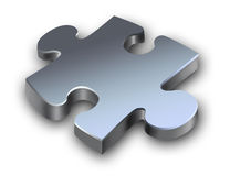 Metallic puzzle. With shadow isolated Royalty Free Stock Photo