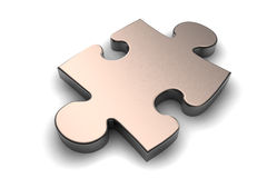 Metallic puzzle piece royalty free illustration