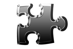 Metallic puzzle piece Stock Photos