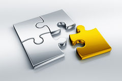 Metallic puzzle pieces Royalty Free Stock Images