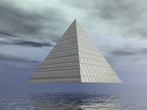 Metallic pyramid - 3D render Royalty Free Stock Images