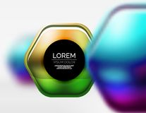 Metallic realistic texture on 3d hexagons, vector digital backdrop Stock Image