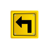 metallic realistic yellow square frame turn left traffic sign Royalty Free Stock Photography