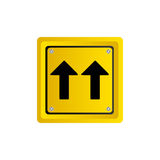 metallic realistic yellow square shape frame same direction arrow road traffic sign Stock Image