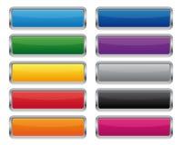 Metallic rectangular buttons. In various colors Royalty Free Stock Photo