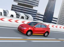 Metallic red autonomous electric SUV driving on the highway. 3D rendering image vector illustration