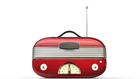 Metallic red cool vintage radio - front view Stock Image
