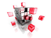 Metallic and red cube blocks structure. Business teamwork commun Royalty Free Stock Photos