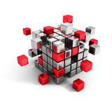Metallic and red cube blocks structure. Business teamwork. Communication concept 3d render illustration Royalty Free Stock Photography