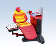 Metallic red dental unit equipment with colorful chair, frosted glass partition Royalty Free Stock Image