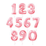 Metallic Red Letter Balloons 123. Metallic Red Letter Balloons, 123 golden numeral alphabeth. Pink Number Balloons, 1, Alphabet Letter Balloons, 2, Number vector illustration