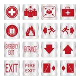 Metalic red safety sign set. Metallic red safety sign set Stock Photos