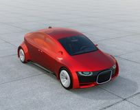 Metallic red self-driving car parking on the ground. Front grille with digital headlight. 3D rendering image Stock Image