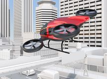 Metallic red self-driving passenger drone. Flying over a highway bridge which in heavy traffic jam. 3D rendering image Royalty Free Stock Photography