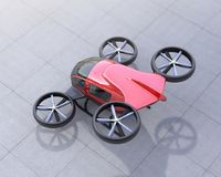 Metallic red self-driving passenger drone on the ground. 3D rendering image Stock Image