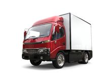 Metallic red small box truck. Isolated on white background Stock Images