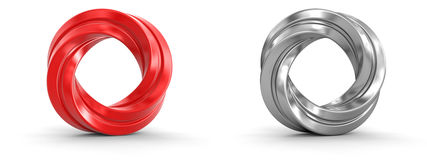Metallic and red twisted rings Stock Photos