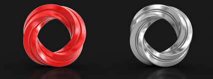 Metallic and red twisted rings Stock Images