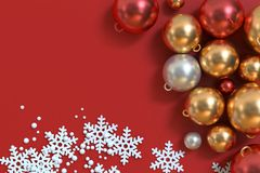 Metallic red white gold christmas ball with abstract snow of christmas background 3d. Left side free space many metallic red white gold christmas ball with stock photo