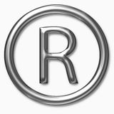 Metallic registered symbol Royalty Free Stock Images
