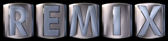 Metallic remix word. Metallic blue silver remix word realistic 3d rendered on black background Royalty Free Stock Images