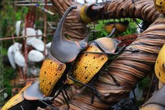 Metallic rhino beetle statue Royalty Free Stock Image