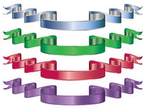 Metallic ribbon. Set of four metallic ribbons or banners isolated on white Stock Photos