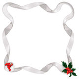 Metallic ribbon & holly border Royalty Free Stock Photos