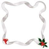 Metallic ribbon & holly border. Shiny silver ribbon border, with holly & berry accents Royalty Free Stock Photos