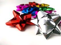 Metallic ribbon on white background. stock photo
