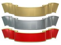 3 metallic ribbons. Isolated on white background Stock Photo