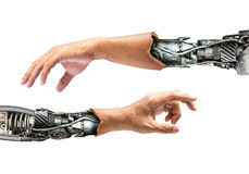 Metallic robot hand. Metallic robot arm internal human hand isolated on white background for concept of the future technology Royalty Free Stock Photography