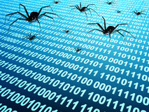 Metallic robots - spiders on surface with binary code Royalty Free Stock Photography