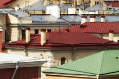 Metallic roofs different colors Stock Images