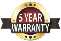 5 year warranty gold metallic round seal badge. Metallic round seal badge on white background Royalty Free Stock Images