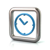 Metallic rounded square frame with blue clock icon Stock Images