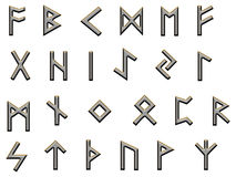 Metallic runes illustration on white Royalty Free Stock Images