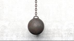 Metallic rusty wrecking ball on chain. 3D rendering Stock Photo