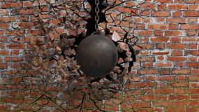 Metallic rusty wrecking ball. On chain shattering an old brick wall. 3D rendering Royalty Free Stock Photo
