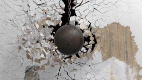 Metallic rusty wrecking ball. On chain shattering  an old wall. 3D rendering Royalty Free Stock Photography