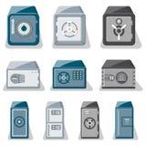 Metallic safe box with closed door set. Metallic safe box with closed door and buttons of electronic combination lock set. Money storage, financial safety, cash Royalty Free Stock Photo