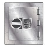 Metallic safe for storage of valuables. Royalty Free Stock Image