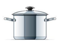 Metallic saucepan with lid. Vector illustration isolated on white background Royalty Free Stock Photography