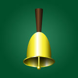 Metallic school bell. Vector illustration of metallic school bell on the green background Royalty Free Stock Image