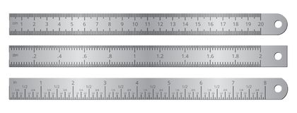 Metallic school rulers with inch and centimeter measuring scale vector illustration isolated on white background. Ruler centimeter, millimeter, instrument with Royalty Free Stock Images